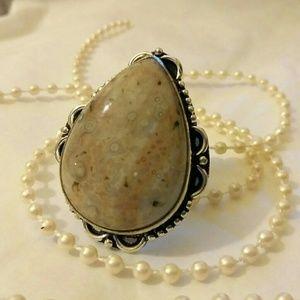 Ocean Jasper Handmade Vintage 925 Silver Ring